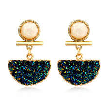 2019 Vintage Blue Shiny Stone Drop Earrings For Women Golden Frame Chic Stylish Cute Girl Gift Party Jewelry