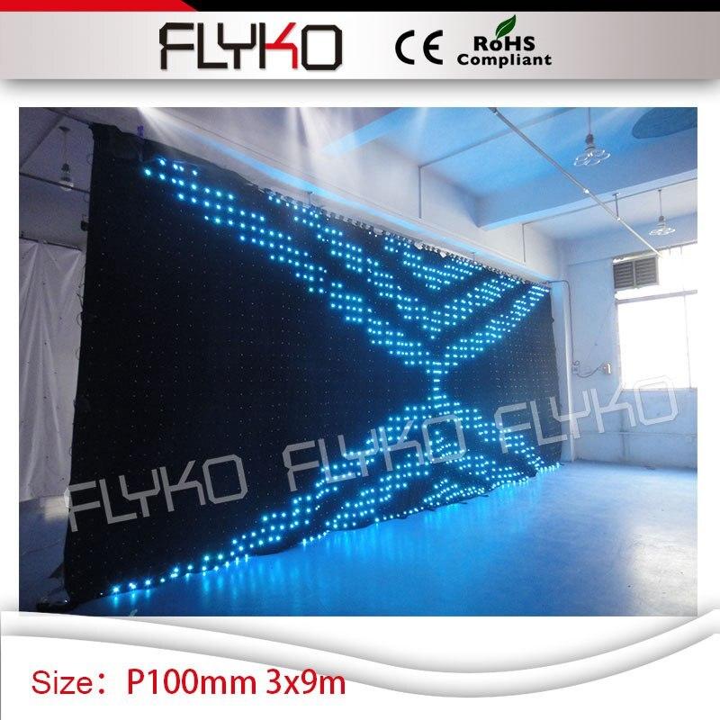 Сценическое свадебное освещение оптовая продажа будка диджея led видео занавес 10ft * 30ft P10cm используется портативный сценический для продажи
