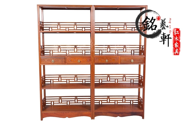 Burmese rosewood mahogany furniture of Ming and Qing classical wood bookcase shelf bookcase child rosewood four