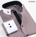 New vestidos Brand Stripe Long Sleeve  Men Shirt Casual Cotton Mens Dress Shirts Asia Size XS -6XL Gray Red Autumn Summer