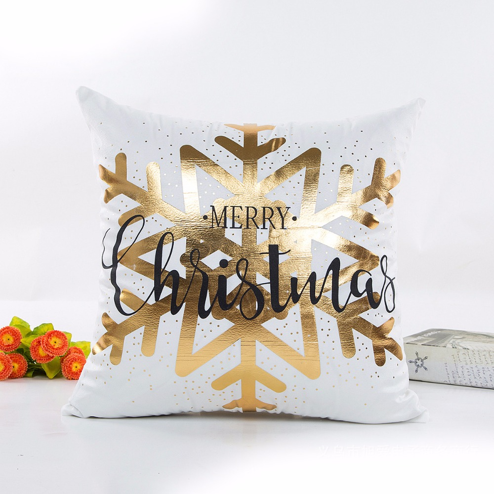 christmas cotton bronzing cushion cover. Black Bedroom Furniture Sets. Home Design Ideas