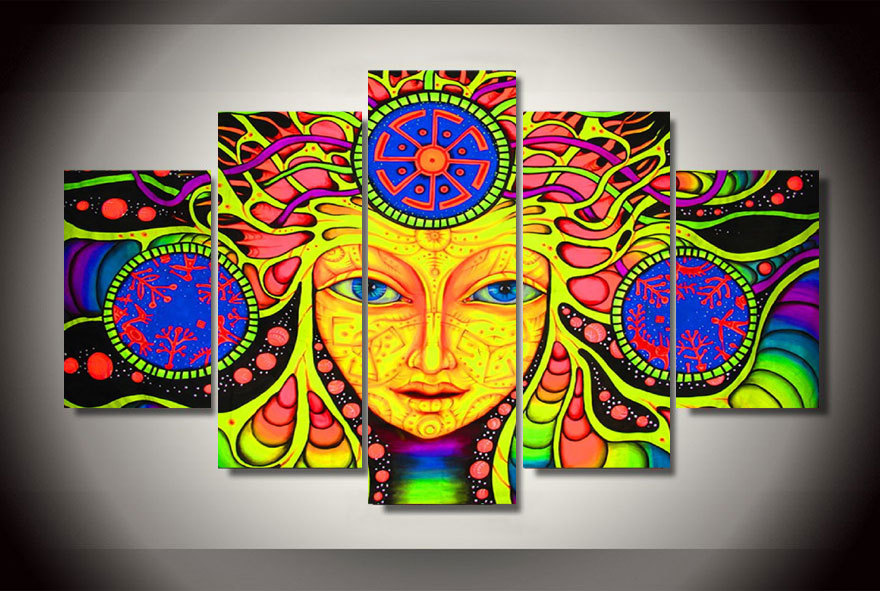 5 Panel Psychedelic Mandala Abstract Ethnic Tribe Modern Home Wall ...