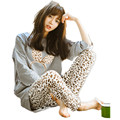 Новый 2016 Весна Осень Женщины Пижамы Устанавливает О-Образным Вырезом С Длинным Рукавом Женщин Пижамы Пижамы Девушки Домашней Одежды Одежда Для Женщин Ночной Рубашке