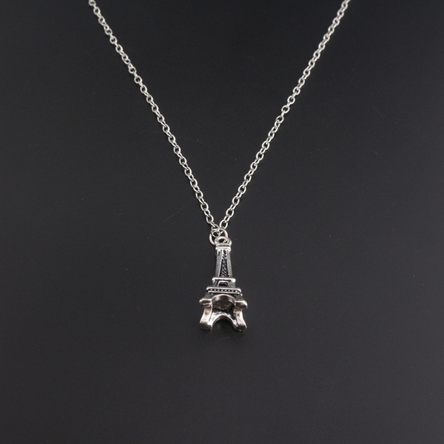 Paris gift souvenirs jewelry vintage antique silver eiffel tower paris gift souvenirs jewelry vintage antique silver eiffel tower necklace collier collares 3d eiffel tower pendants aloadofball Image collections