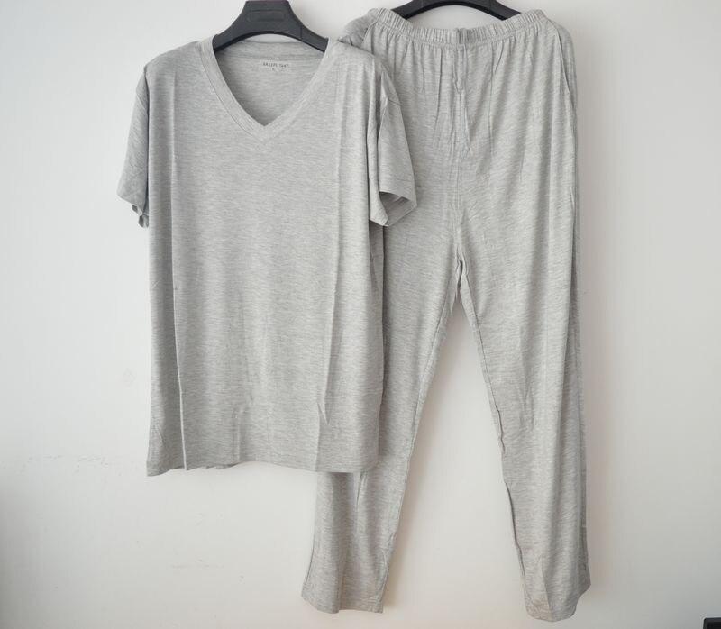 Manches courtes longueur pantalon homme vêtements de nuit été modal col en v salon ensemble mince modal pyjama ensemble grande taille L-4XL
