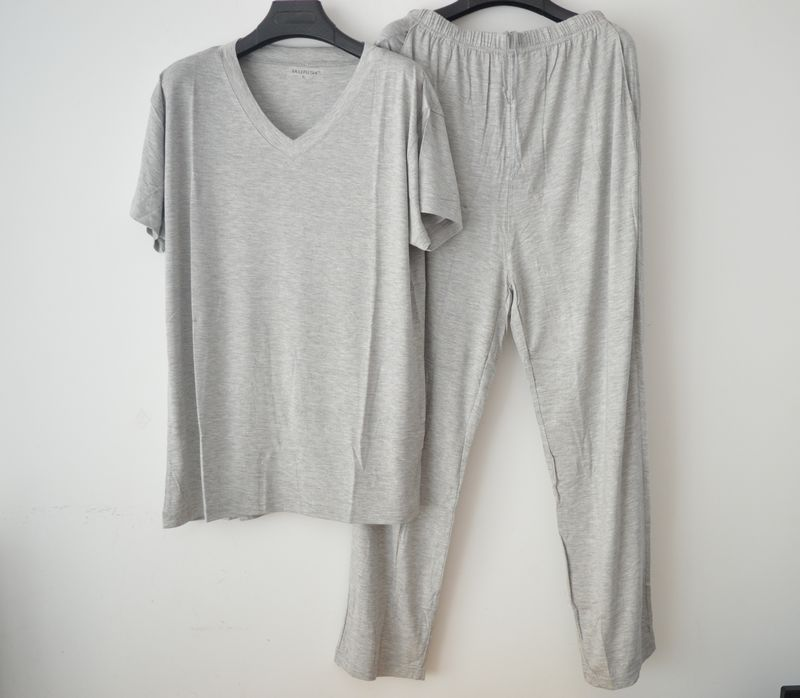 Short Sleeve Length Pants Male Sleepwear Summer Modal V-neck Lounge Set Thin Modal Pajama Set Plus Size L-4XL