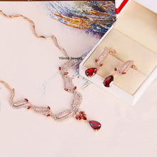 S212159 new elegant crystal red zircon set zinc alloy rose gold color with high quality zircon Austria crystal fashion jewelry