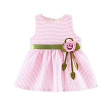 Летнее Детское платье для маленьких девочек; милое в полоску