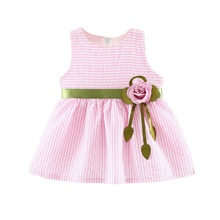 Summer Kids Baby Dress For Girls Cute Flower Striped Baby Girl Dress Princess Vestidos cute sleeveless scoop neck striped flower embellished dress for girls