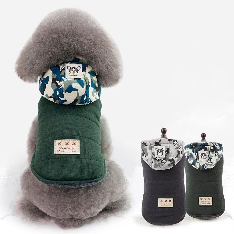 Winter Warm Camouflage Hats Pets Dog Hoodies Coats Two Feet Thicken Cotton Small Dogs Clothes Bulldog/Chihuahua Jackets Coat
