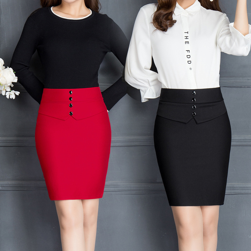 2017 Autumn&winter Women Office Mini Skirt Fashion Slim Sexy Single-breaste Solid Color Package Hip Skirt Red Black Pencil Skirt