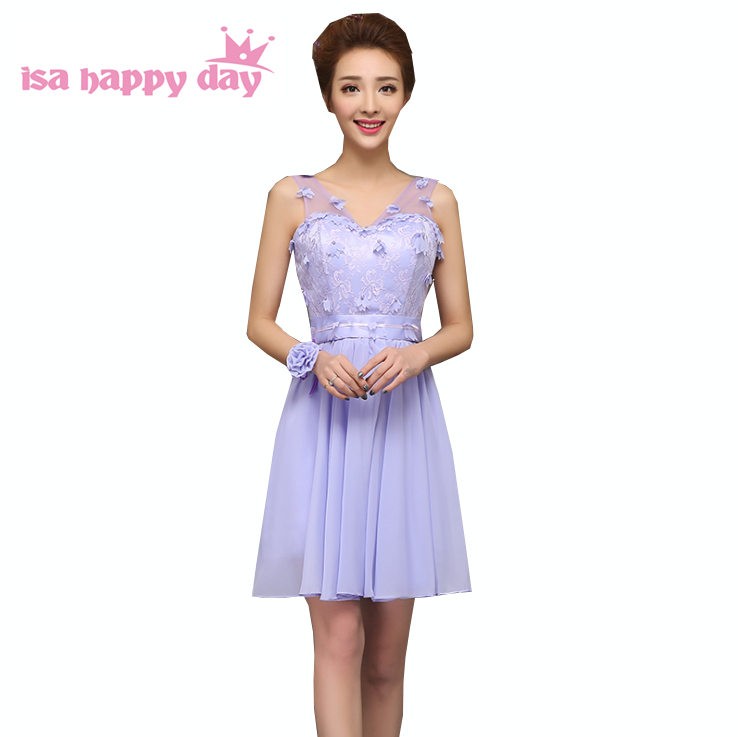 sexy V neck sweet 16 fitted short light purple girls a ...