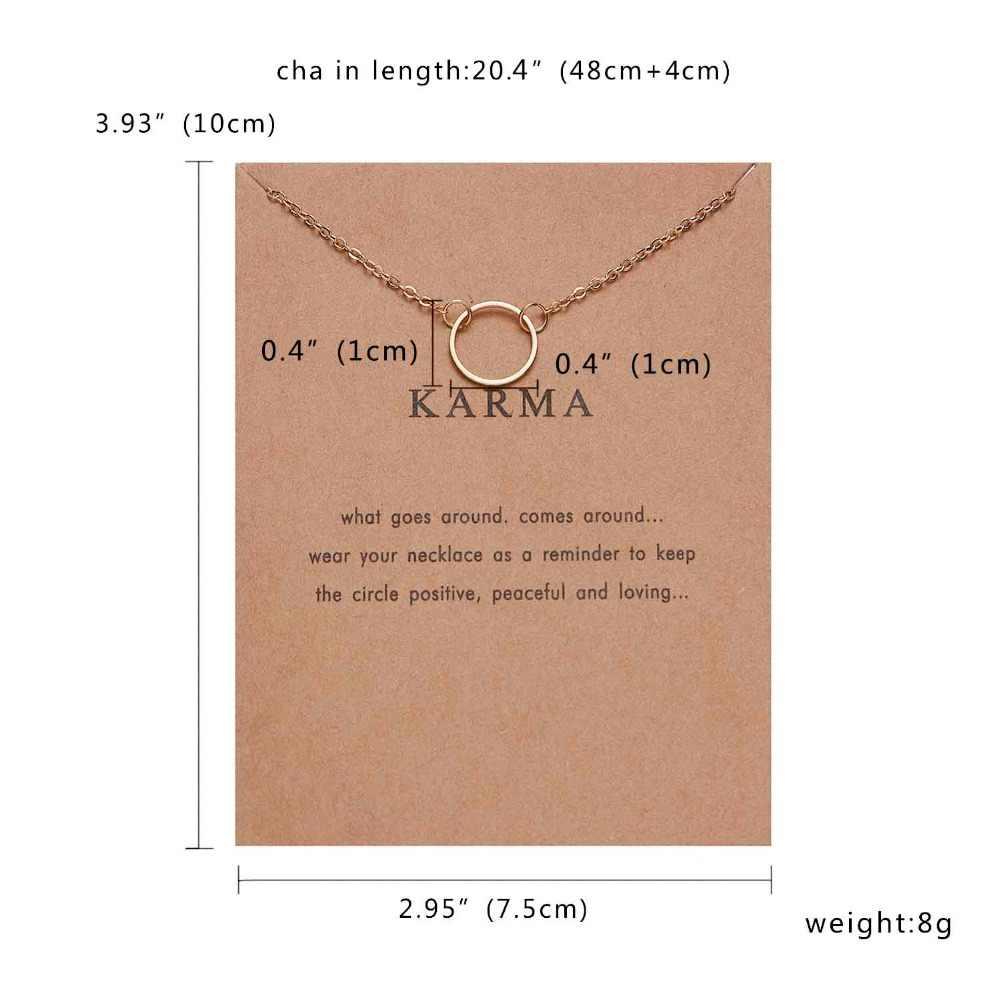 Rinhoo קארמה זוגי שרשרת מעגל שרשרת זהב-צבע תליון שרשראות אופנה עצם הבריח שרשרות הצהרת שרשרת נשים תכשיטים