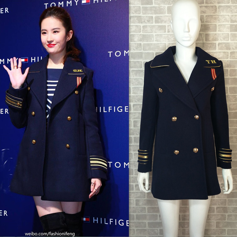 2019 Star Liu Yifei with The Blue Navy Hair Coat Badge Long Wool Woollen Coat New Fashion Dark Blue Single Row Two Grain Buckle