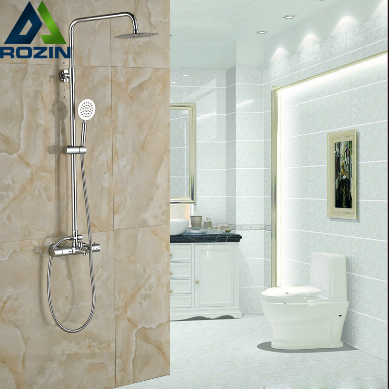 Luxury Bathroom Shower Thermostatic Mixer Tap Dual Handle Children and Elderly Shower Faucet Set Chrome Finish traditional faucet chrome thermostatic bathroom faucets plastic handshower dual holes shower mixer tap