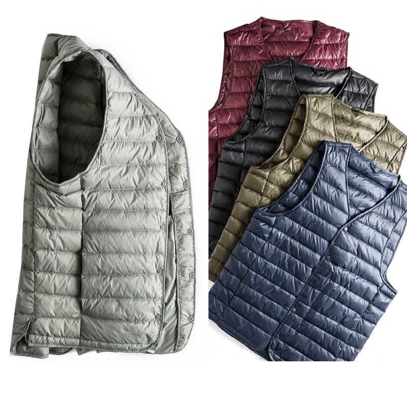 Осень-зима Для мужчин белая утка пуховой жилет ультра легкий пуховик на утином пуху жилет; Верхняя одежда; куртка с треугольным вырезом жилетка, без рукавов куртка SF0535