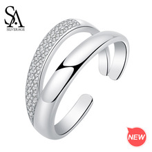 SA SILVERAGE S925 Rings for Woman Silver White Zirconia 925 Ring Authentic Sterling Rectangle Wedding
