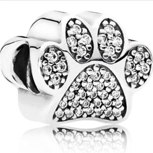 Роскошный полый любовь сердце собаки кость цветок Кристалл кулон бусины Fit Пандора браслеты ожерелья для женщины ювелирные изделия