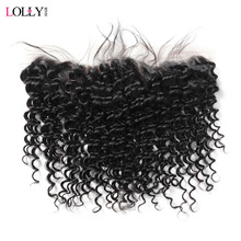 Lolly Hair Indian Deep Wave Frontal 13x4 inch Free Part Ear to Ear Lace Frontal Closure 100% Human Hair Frontal Non Remy 1 PC