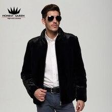 HONEST QUEEN real fur coat men genuine natural mink fur collar fashion black fur jacket outwear winter overcoat L-4XL