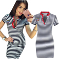 2016 Summer Casual Dresses Fashion Striped Women Dress V Neck Bodycon T Shirt Dress