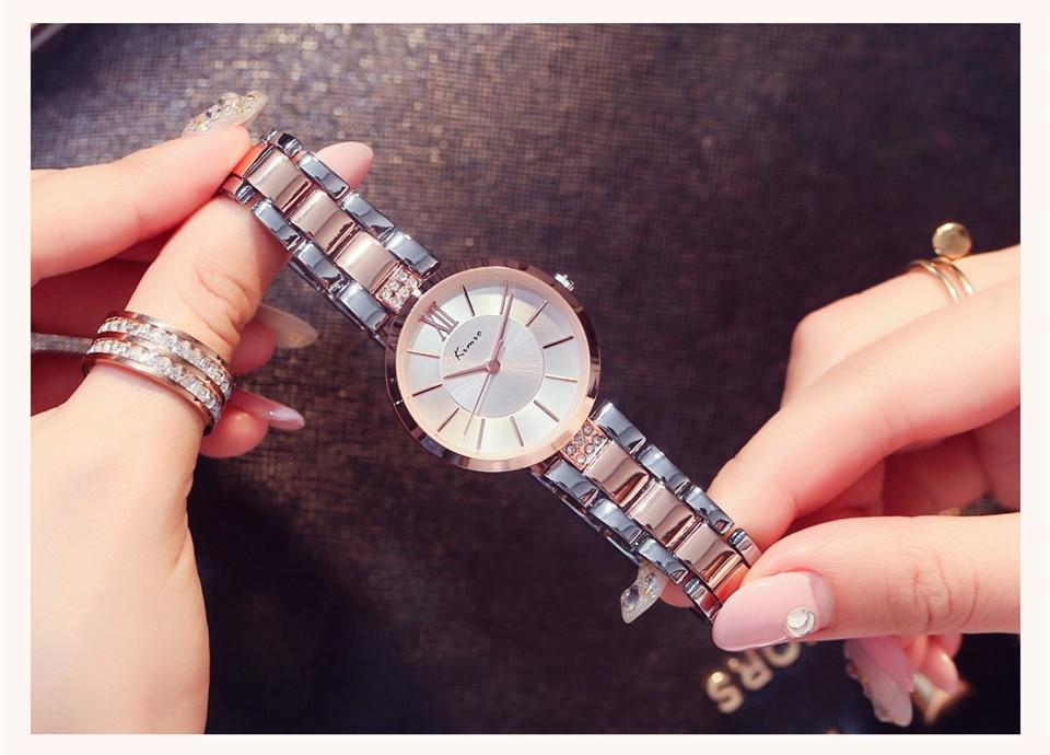 KIMIO Thin Clock Women Fashion Simple Watches Rhinestones Dress Woman Watch Rose Gold Quartz Ladies Women's Watch Wristwatch 22