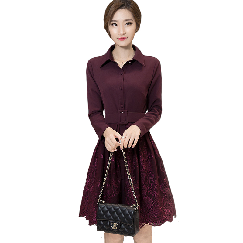 Autumn Full Sleeve Work Wear Dress New Arrival Womens Elegant Slim Causal Business A-Line Lace stitching Dress Vestidos L7502