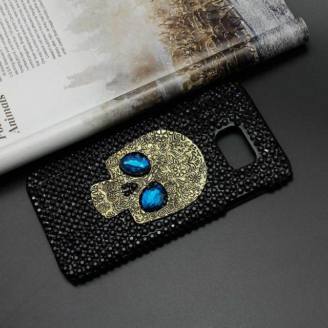 Handmade Diamond Metal saphire eye Skull back Cover phone case For Samsung galaxy S3 S4 S5 S6 S6 edge Plus Note 2/3/4/5