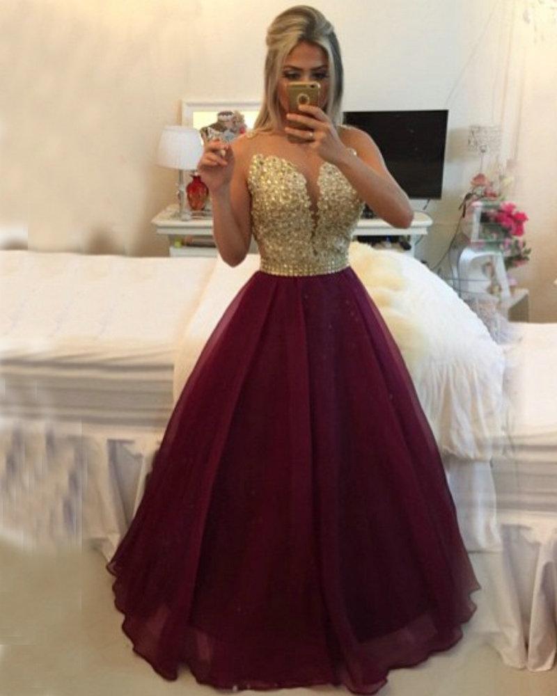 Burgundy Evening Dress Gold Champagne Lace Applique Formal