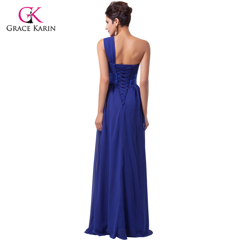 Evening Dresses Grace Karin 2018 New Arrival Elegant chiffon One shoulder Purple Prom Dresses Long Formal Evening Gowns 6022