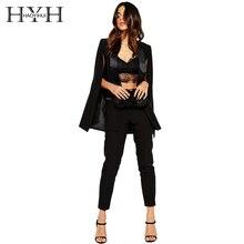 HYH haoyihui сплошной черный Для женщин блейзер без кнопки Зубчатый воротник пальто с длинными рукавами уличной элегантный Винтаж блейзер