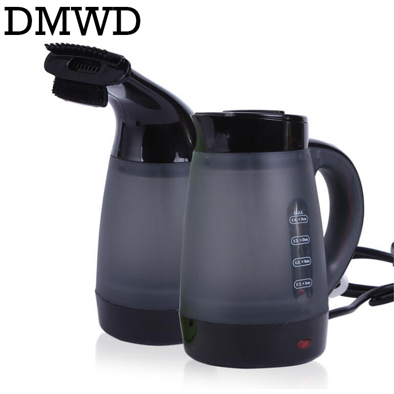 DMWD electric kettle hot water heating boiler clothes ironing machine garment steamer brush travel portable teapot 0.4L EU plug 700w portable food grade plasctic electric kettle thermal insulation teapot 0 5l home travel water boiler seperated underpan