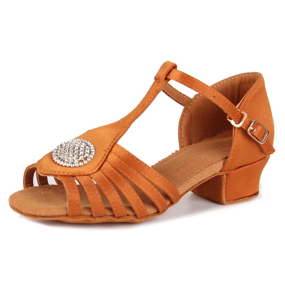 Высокое качество Для женщин Туфли для латинских танцев Детская Обувь для девочек Танго на низком каблуке Профессиональный Костюмы для баль...