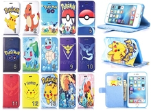 Colorful Cartoon PU Leather Wallet Flip Stand Card Slot Shell Case Cover Pouch for Apple Iphone