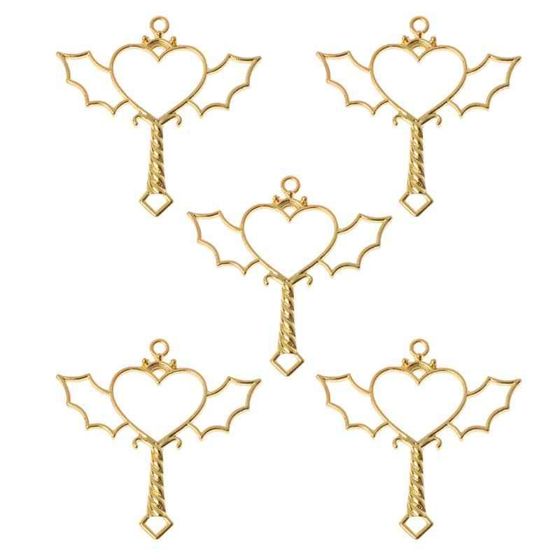 5 個ハートスタームーン魔法の杖キー形状フレームペンダント UV 樹脂のジュエリー所見