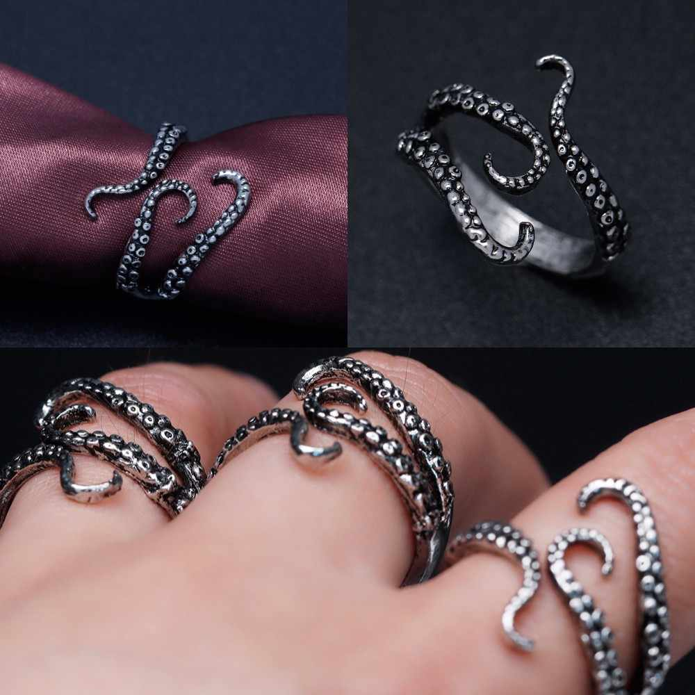 Titanium Steel Gothic Deep Sea Monster Squid Octopus Finger Tentacles Ring Fashion Jewelry Opened Adjustable Size Gift
