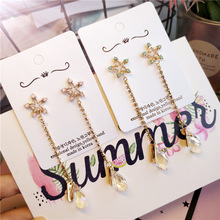 цена на Korea Handmade Rhinestone Star Crystal Water drop Women Drop Earrings Dangle Earrings Fashion Jewelry Accessories-JQD5