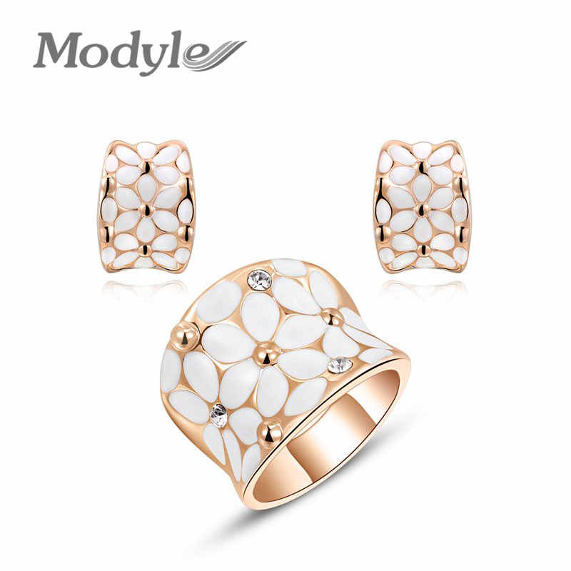 Modyle New Year Gift Flower Rings + Stud Earrings Rose Gold-Color Austrian Colorful Crystals Hand Made Fashion Jewelry Set