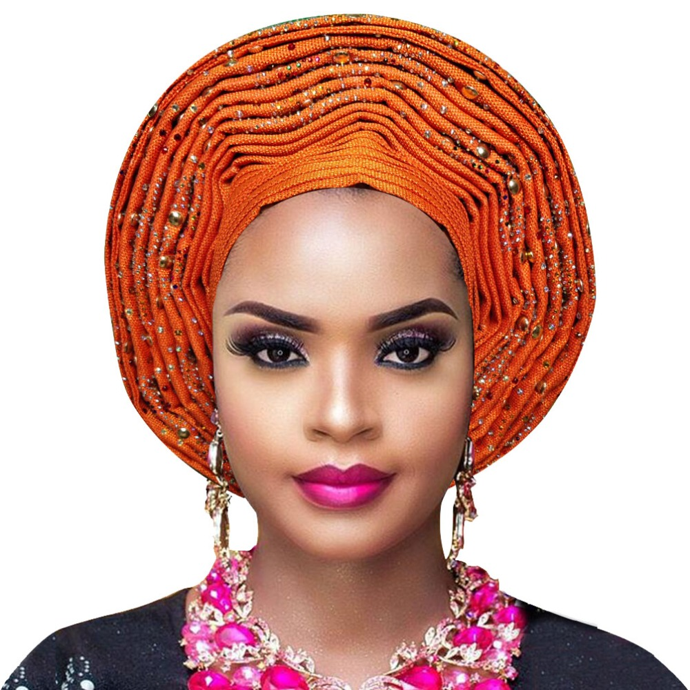 African headtie aso oke Auto Gele with with beads African Ladies headwrap For aso ebi wedding