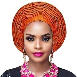 Afrikaanse headtie aso oke Auto Gele met met kralen Afrikaanse Dames headwrap Voor aso ebi bruiloft