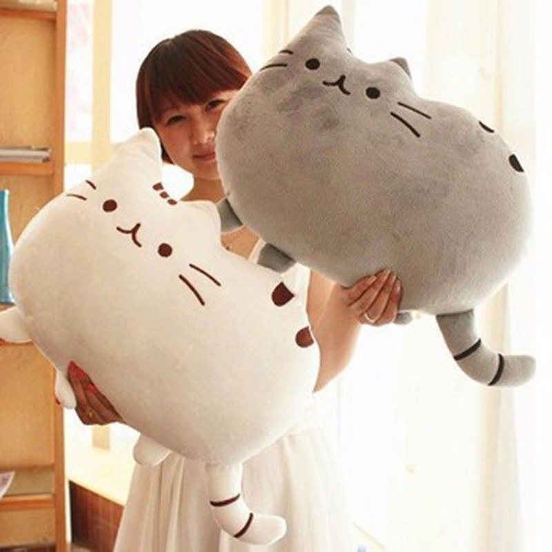 40*30cm Kawaii Cat Pillow With Zipper Only Skin Without PP Cotton Biscuits Kids Toys Doll Big Cushion Cover Peluche Gift 40 30cm pusheen cat plush toys stuffed animal doll animal pillow toy pusheen cat for kid kawaii cute cushion brinquedos gift