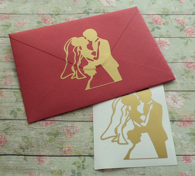 12 Piece Set Wedding Invitation Seals Gold Envelope Groom And Bride Stickers Engagement Party