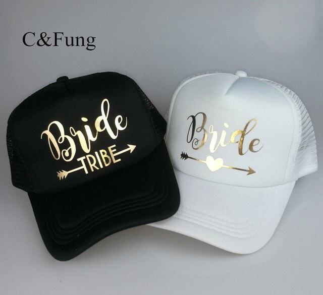 C Fung Bride Tribe Bachelorette Snapback Trucker Hat Cap Team Bride gold  letters Arrow bride to be b47c4333a6e2