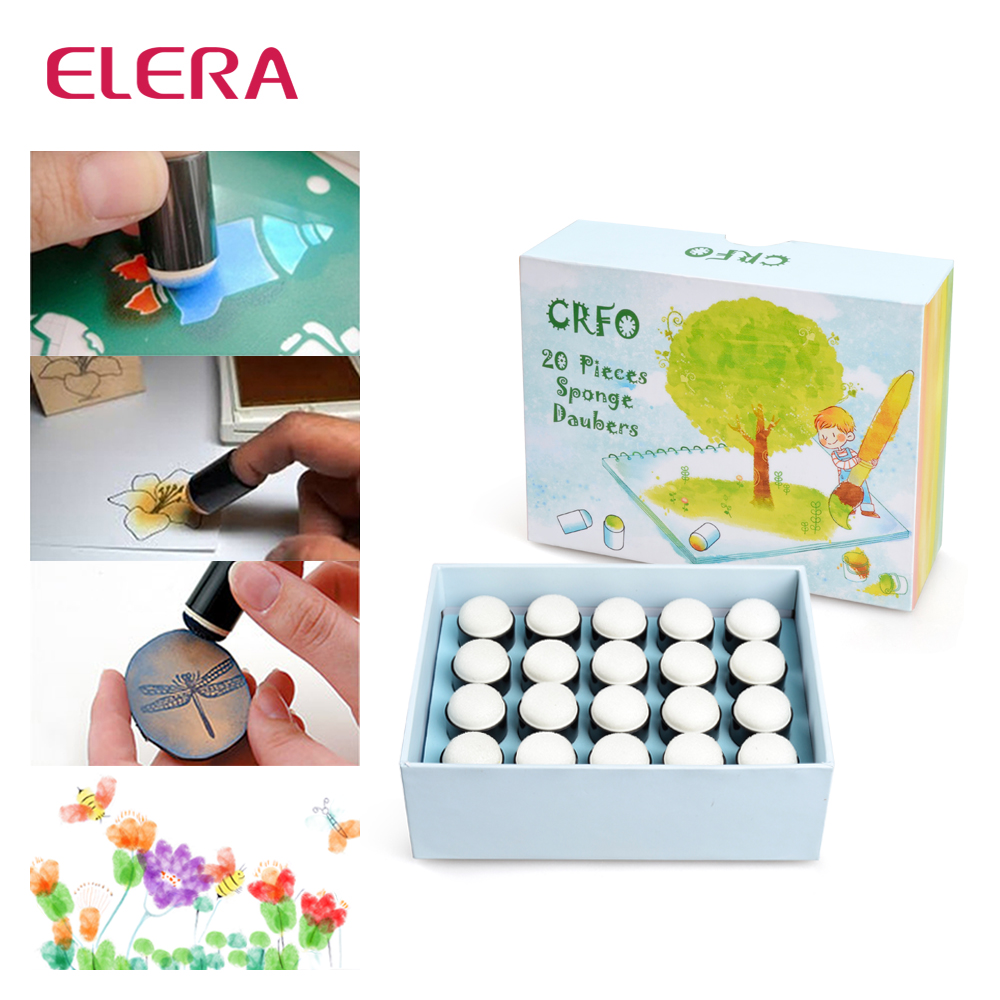 ELERA 20pcs/lot Finger Daubers Foam Ink Chalk Inking Staining Altering Any Craft Project Finger Painting Drawing With Box elera 20pcs lot finger daubers foam ink chalk inking staining altering any craft project finger painting drawing with box
