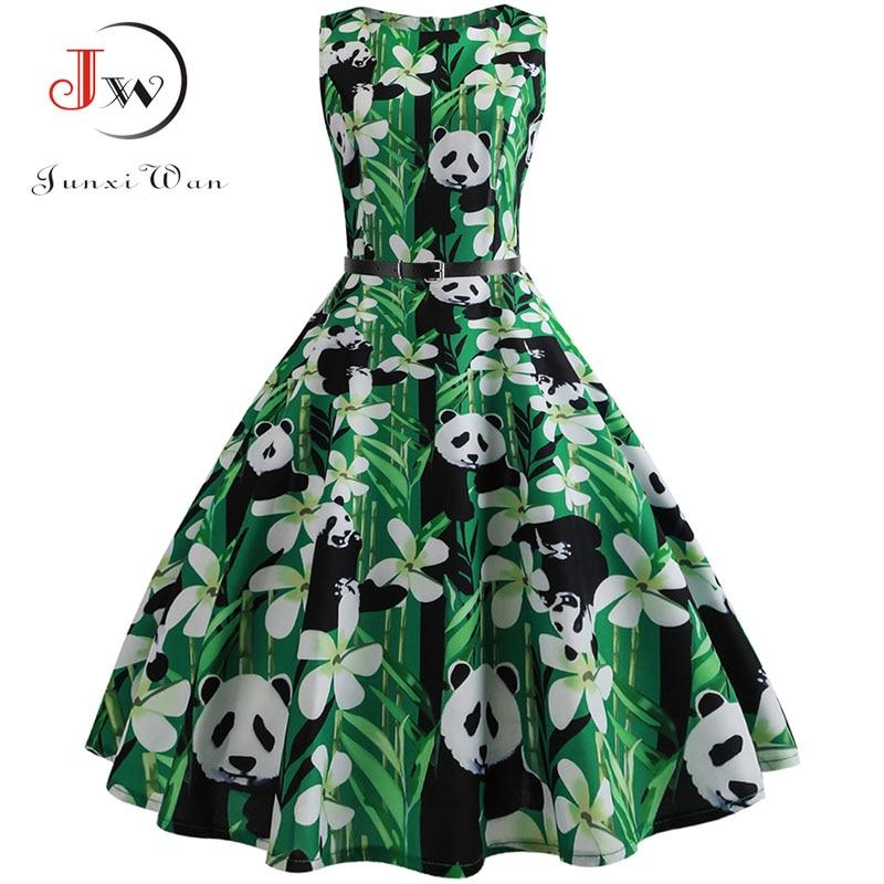 Vintage Dresses  Panda Print Summer Dress For Women 50s 60s Floral Sleeveless Party Vestidos Elegant Large Swing Dress Belt