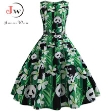 Vintage Dresses  Panda Print Summer Women 50s 60s Floral Sleeveless Party Vestidos Elegant Large Swing SundressBelt