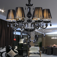 Modern Black Crystal Chandelier Lampshades Antique Brass Chandeliers Lustres De Sala Moderno Dining Room Chandlier Lights