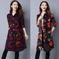 Long Women Winter Coat Parka Print Single Breasted Womens Jackets And Coats Slim Full Fashion Woman China Style Loose