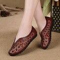 Original nova genuien sapatos de couro handmade confortáveis mulheres fundo macio sapatos retro literária sapatos casuais com sapatos baixos