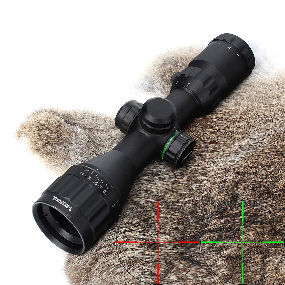 Hunting Optics 3-9x32 AO Compact Mil Dot Red Green Illuminated Reticle Riflescopes with Sun Shade Tactical Rifle Scope 4x 30mm red green mil dot reticle rifle scope with gun mount black 3 x ag13 1 x cr2032